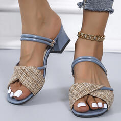 Women's PU Chunky Heel Sandals Pumps Peep Toe With Patchwork shoes