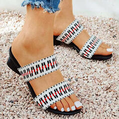 Women's PU Low Heel Sandals Peep Toe Slippers Heels With Hollow-out Striped shoes