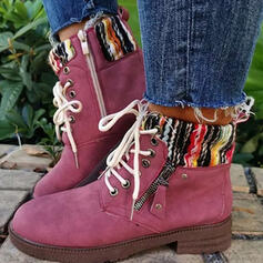 Women's Cloth Chunky Heel Boots Mid-Calf Boots Round Toe With Lace-up Splice Color shoes