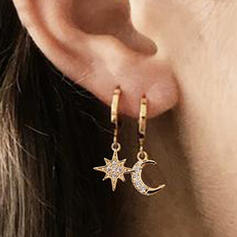 Shining Charming Delicate Round Alloy With Moon Sun Earrings 2 PCS