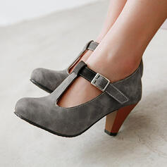 Women's PU Chunky Heel Pumps Round Toe With Buckle Hollow-out shoes