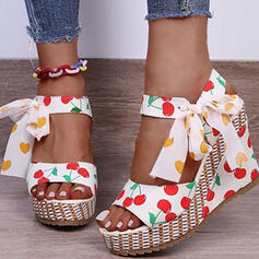 Women's PVC Wedge Heel Sandals Platform Wedges Peep Toe With Hollow-out Tassel shoes