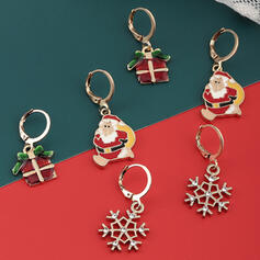 Shining Christmas Christmas Santa Alloy With Rhinestones Earrings 6 PCS