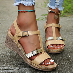 Women's PU Wedge Heel Sandals Platform Wedges Peep Toe With Buckle Hollow-out Splice Color shoes