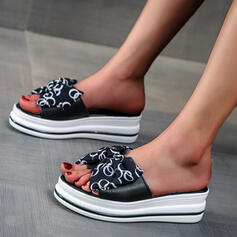Women's Cloth Wedge Heel Sandals Platform Wedges Peep Toe Slippers With Hollow-out Splice Color shoes