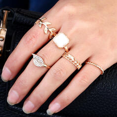 Charming Delicate Alloy With Leaf Rings 5 PCS