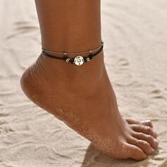 Simple Alloy Leather Rope With Tag Coin Beach Jewelry Anklets (Set of 2)