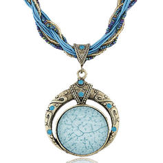 Vintage Alloy Resin Beads Women's Necklaces