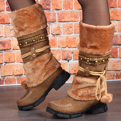 Women's PU Chunky Heel Snow Boots Round Toe With Lace-up Splice Color shoes