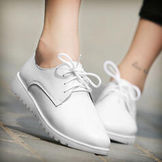 Women's PU Flat Heel Low Top Loafers With Lace-up Solid Color shoes