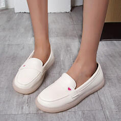 Women's PU Flat Heel Flats Loafers With Applique Solid Color shoes