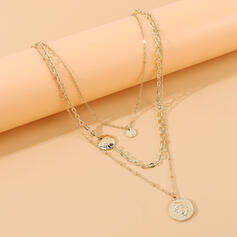 Vintage Round Layered Alloy With Coin Necklaces 3 PCS
