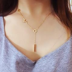 Simple V Shaped Titanium Steel With Zircon Necklaces