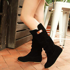 Women's Suede Wedge Heel Mid-Calf Boots Round Toe With Ruched Solid Color shoes