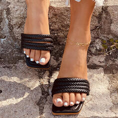 Women's PU Flat Heel Sandals Slippers With Braided Strap shoes