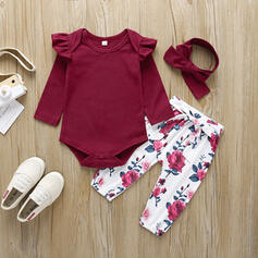 3-pieces Baby Girl Bowknot Floral Solid Cotton Set
