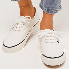Women's Canvas Flat Heel Flats Round Toe Espadrille With Lace-up Solid Color shoes