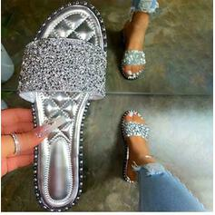 Women's Sparkling Glitter Flat Heel Sandals Slippers Round Toe With Sparkling Glitter shoes