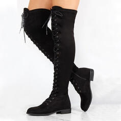 Women's PU Chunky Heel Over The Knee Boots Round Toe With Zipper Lace-up shoes