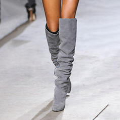 Women's Suede Chunky Heel Over The Knee Boots Pointed Toe Winter Boots With Solid Color shoes