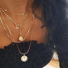 Vintage Layered Alloy With Coin Imitation Pearls Necklaces 4 PCS