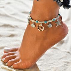 Cool Wave Alloy With Shell Tag Starfish Anklets