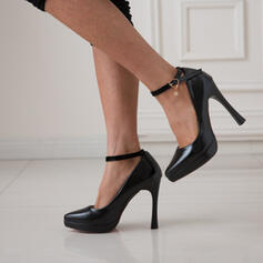 Women's PU Stiletto Heel Pumps Pointed Toe With Buckle shoes