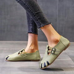 Women's PU Flat Heel Flats With Buckle Splice Color shoes