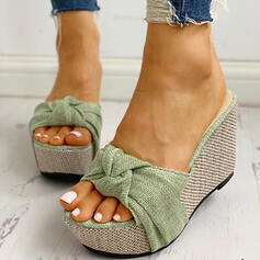 Women's PU Wedge Heel Sandals Wedges Peep Toe Slippers Heels With Bowknot shoes