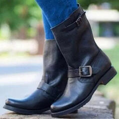 Women's PU Chunky Heel Boots Ankle Boots Round Toe With Buckle shoes
