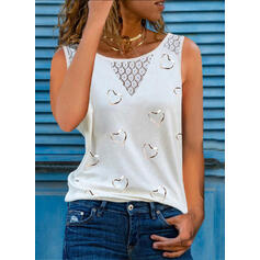 Heart Lace Print Round Neck Sleeveless Tank Tops