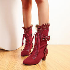 Women's PU Chunky Heel Mid-Calf Boots Heels Round Toe With Others Floral shoes