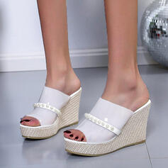 Women's PU Wedge Heel Sandals Platform Wedges Peep Toe Slippers Heels With Beading Hollow-out shoes