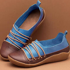 Women's Leatherette Flat Heel Flats Mary Jane With Elastic Band Splice Color shoes