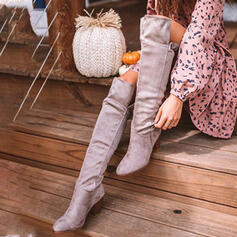 Women's Suede Chunky Heel Over The Knee Boots Pointed Toe Slip On With Ruched Solid Color shoes