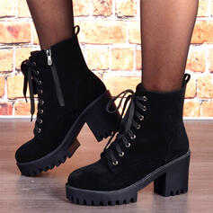 Women's Suede Chunky Heel Martin Boots Round Toe With Zipper Lace-up shoes