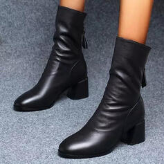Women's PU Chunky Heel Mid-Calf Boots Riding Boots Round Toe With Ruched Zipper shoes