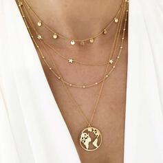 Charming Delicate Layered Map Design Alloy Necklaces 4 PCS
