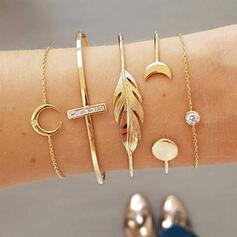 Charming Pretty Artistic Layered Alloy With Leaf Bracelets 5 PCS