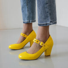 Women's Leatherette Chunky Heel Pumps Round Toe With Buckle shoes