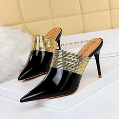 Women's Patent Leather Stiletto Heel Closed Toe Pointed Toe With Splice Color shoes