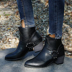 Women's PU Chunky Heel Martin Boots Round Toe With Rivet Buckle shoes