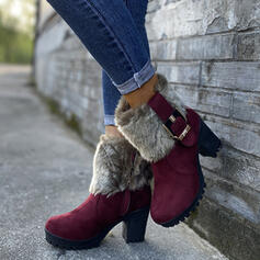 Women's PU Chunky Heel Ankle Boots Round Toe Winter Boots Snow Boots With Buckle Faux-Fur shoes