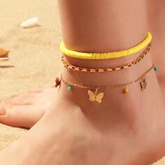 Boho Pretty Romantic Round Layered Alloy Ceramic With Butterfly Anklets 3 PCS