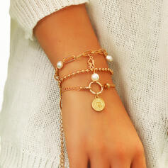 Vintage Layered Alloy Imitation Pearls With Coin Imitation Pearls Bracelets 3 PCS