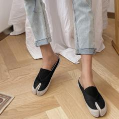 Women's Canvas Flat Heel Flats Low Top Slip On With Solid Color shoes
