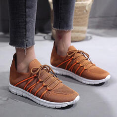Women's Flying Weave Flat Heel Flats Sneakers With Lace-up shoes