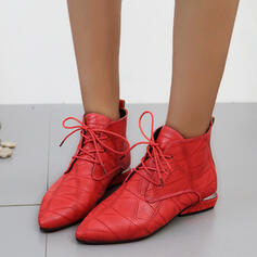 Women's PU Chunky Heel Martin Boots Pointed Toe With Lace-up shoes