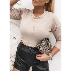 Solid Sequins Round Neck Sexy Sweaters