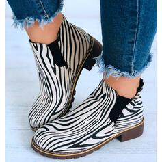 Women's Suede Low Heel Boots Ankle Boots Round Toe With Animal Print shoes